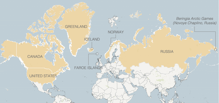 a map of paring arctic countries canada faroe islands greenland iceland norway russia and the united states the games were held in novoye