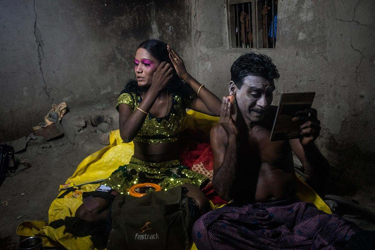 Clockwise from top: Tamil dances at a funeral near Vilathikulam; getting  ready to perform; posing for a photographer. (Click to enlarge images)